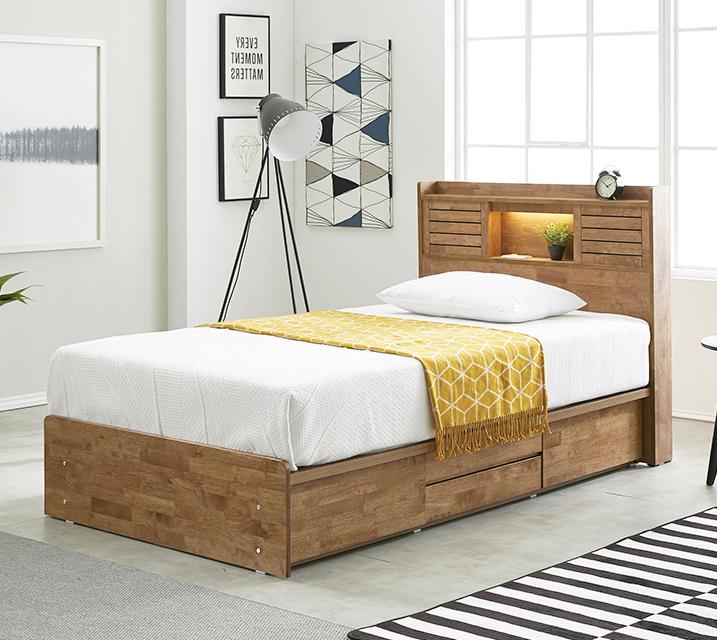 아가타 고무나무 LED 4단 서랍 침대 슈퍼싱글 (SS) 침대세트[독립매트리스포함] / 월 61,800원