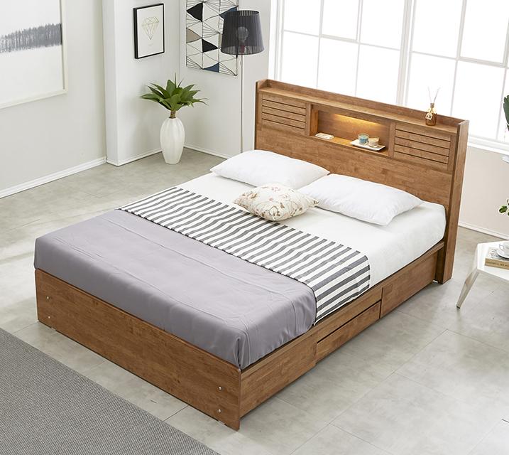 아가타 고무나무 LED 4단 서랍 침대 퀸 (Q) 침대세트[독립매트리스포함] / 월 67,800원