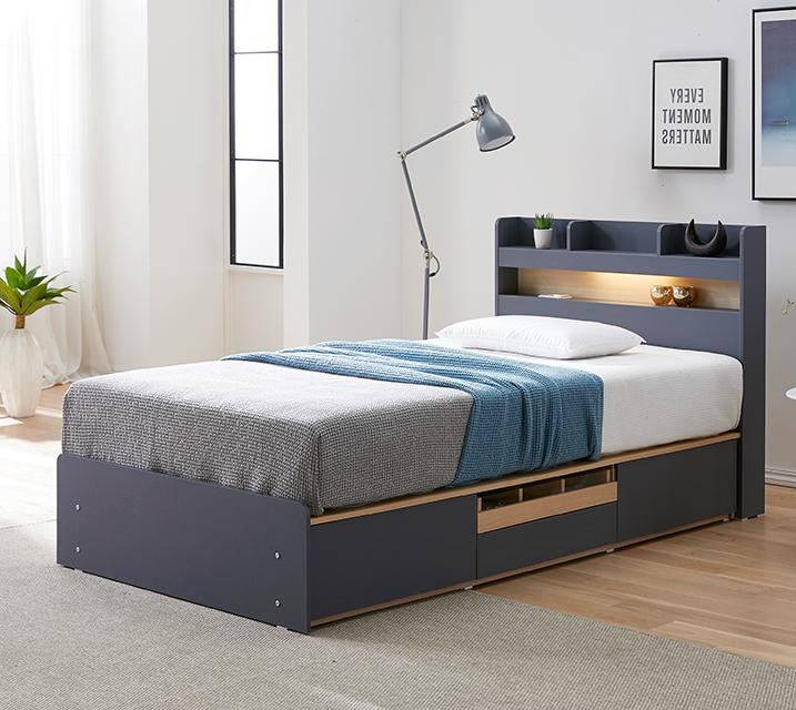 디알로 LED 4단 수납 침대 슈퍼싱글 그레이 (SS) 침대세트 [독립소프트폼 매트리스포함] / 월 53,800원