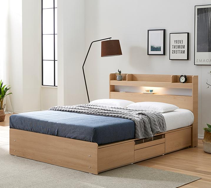 디알로 LED 4단 수납 침대 퀸_오크 (Q) 침대세트 [독립소프트폼 매트리스포함] / 월 59,800원