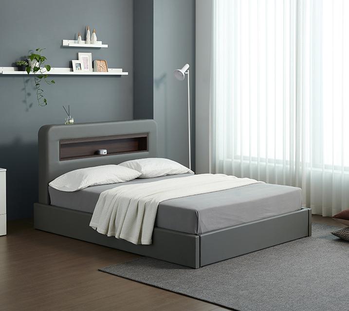 튜베 LED 헤드 수납 가죽 침대 세트 슈퍼싱글(SS) +본넬 매트리스포함/ 월 49,800원