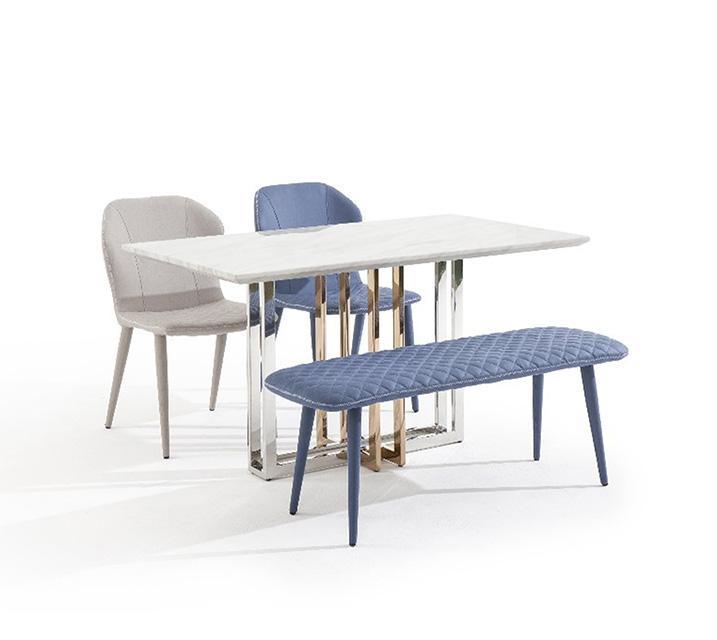 [L] 루나리스 대리석 4인 식탁세트 (의자2ea, 벤치1ea) / 월 59,800원