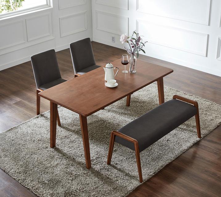 라두 4인용 원목 벤치형 식탁세트(식탁 1ea, 의자 2ea, 벤치 1ea) / 월 67,800원